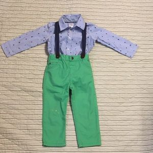 Boys suspender outfit.